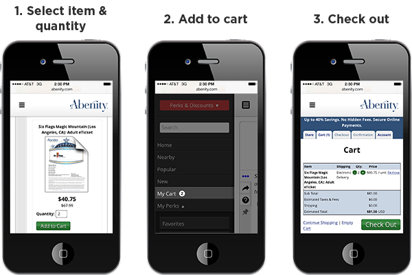 Mobile access makes purchasing tickets on Abenity easy and pain-free