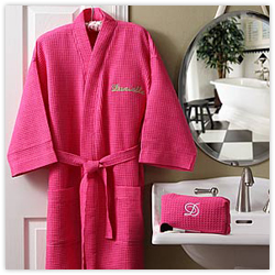 Embroidered Pink Robe & Makeup Bag