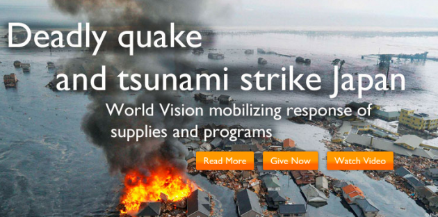 Support Japan. Earthquake Relief with World Vision.
